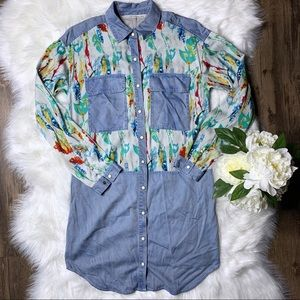 🔥 Rachel Rachel Roy Denim Floral Dress •